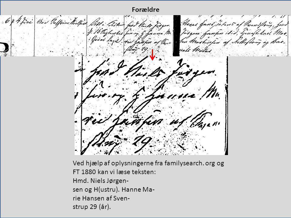 Forældre Ved hjælp af oplysningerne fra familysearch. org og FT 1880 kan vi læse teksten: Hmd. Niels Jørgen-
