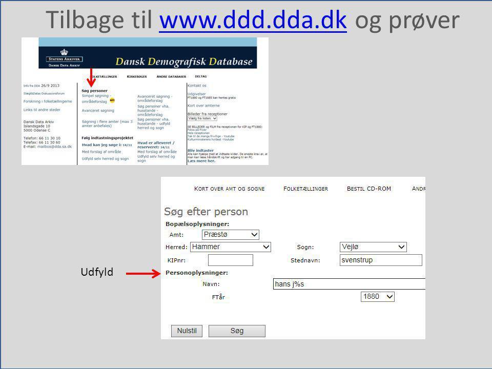Tilbage til www.ddd.dda.dk og prøver