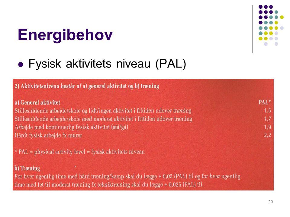 Energibehov Fysisk aktivitets niveau (PAL)