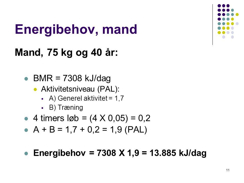 Energibehov, mand Mand, 75 kg og 40 år: BMR = 7308 kJ/dag