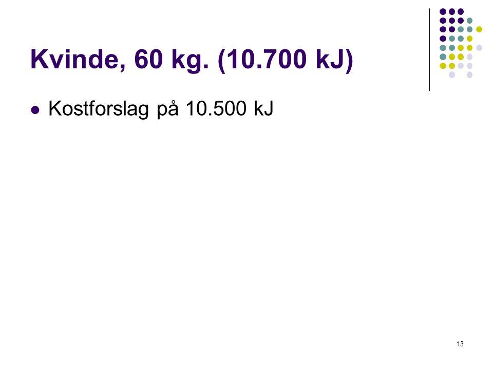 Kvinde, 60 kg. (10.700 kJ) Kostforslag på 10.500 kJ