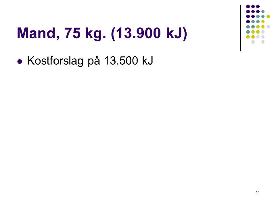 Mand, 75 kg. (13.900 kJ) Kostforslag på 13.500 kJ