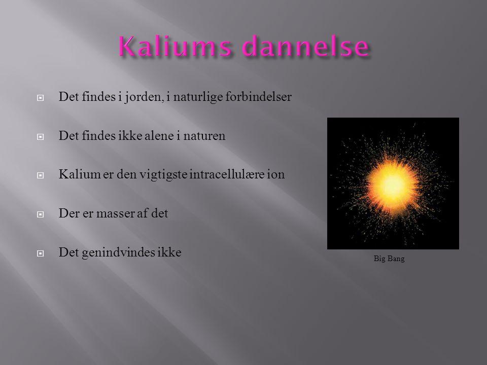 Kaliums dannelse Det findes i jorden, i naturlige forbindelser