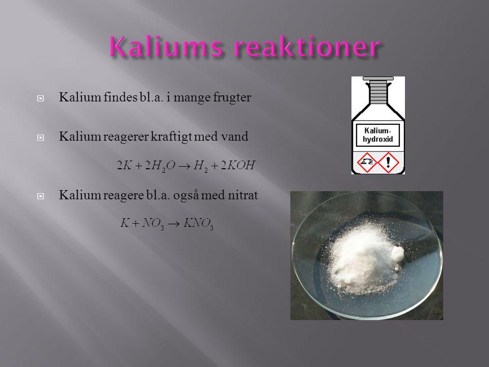 Kaliums reaktioner Kalium findes bl.a. i mange frugter