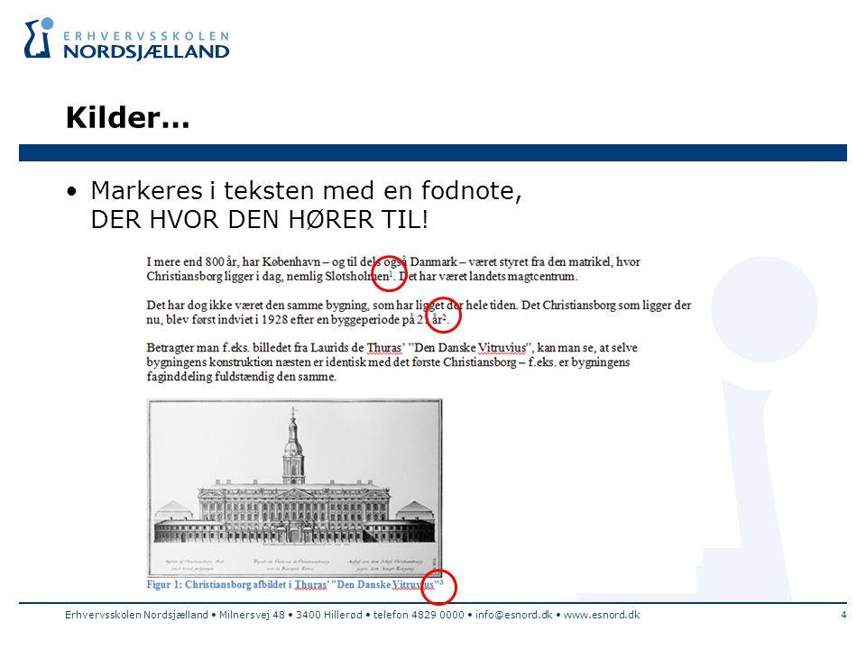 Kilder… Markeres i teksten med en fodnote, DER HVOR DEN HØRER TIL!