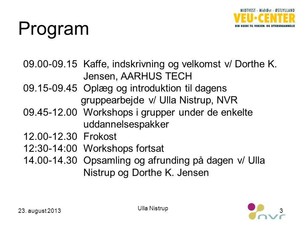 Program 09.00-09.15 Kaffe, indskrivning og velkomst v/ Dorthe K. Jensen, AARHUS TECH.