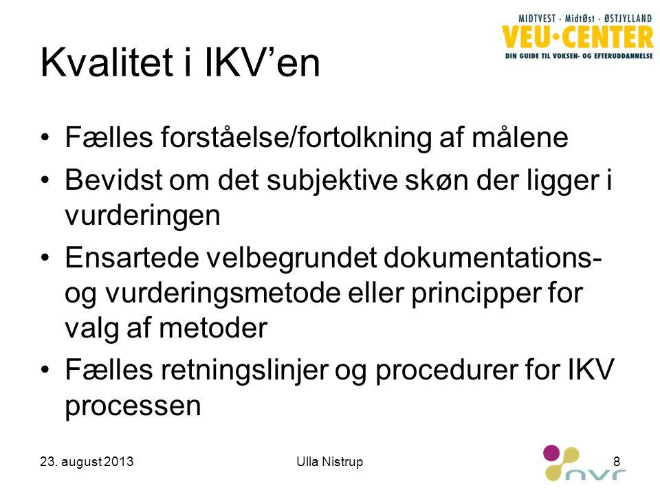 Kvalitet i IKV'en Fælles forståelse/fortolkning af målene