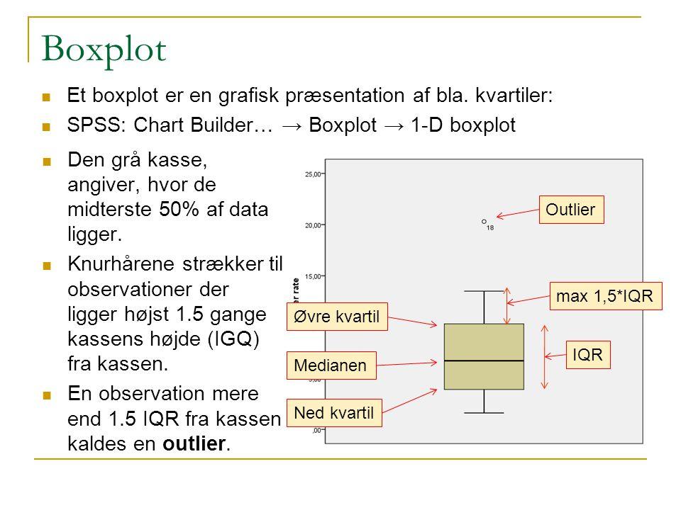 Boxplot Et boxplot er en grafisk præsentation af bla. kvartiler: