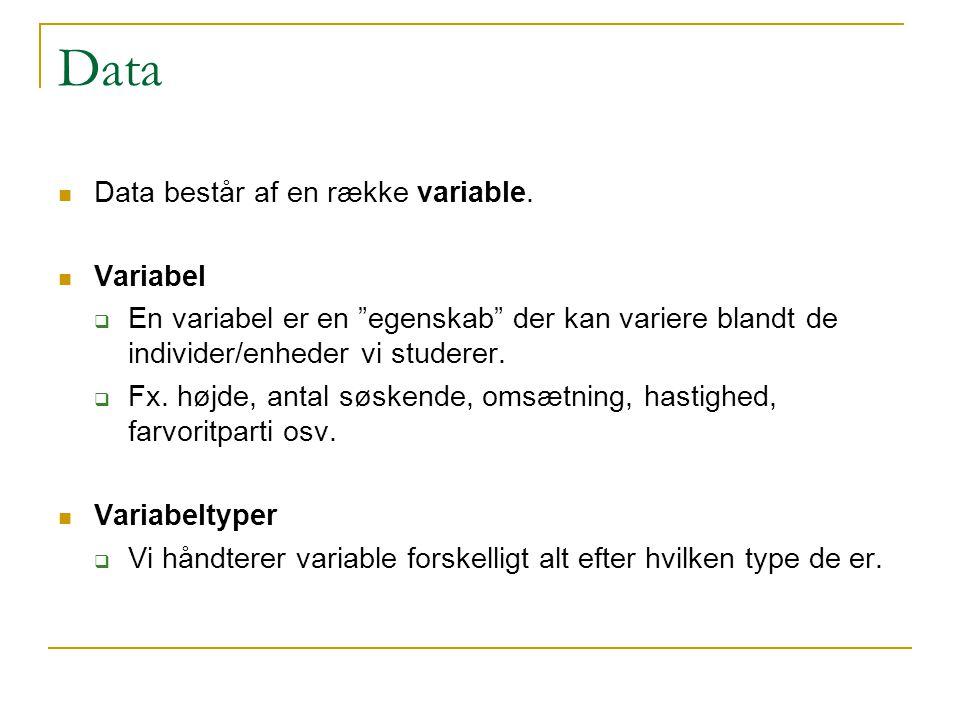 Data Data består af en række variable. Variabel