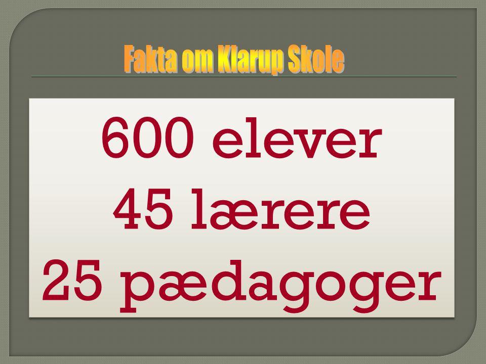 Fakta om Klarup Skole 600 elever 45 lærere 25 pædagoger
