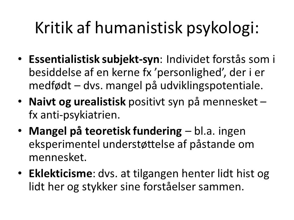 Kritik af humanistisk psykologi: