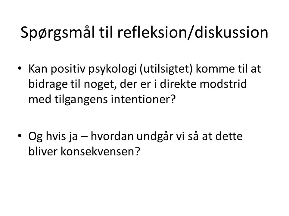 Spørgsmål til refleksion/diskussion