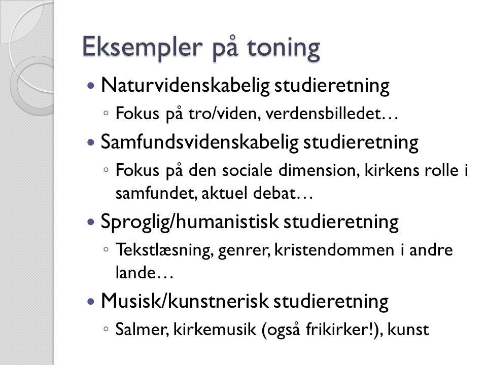 Eksempler på toning Naturvidenskabelig studieretning