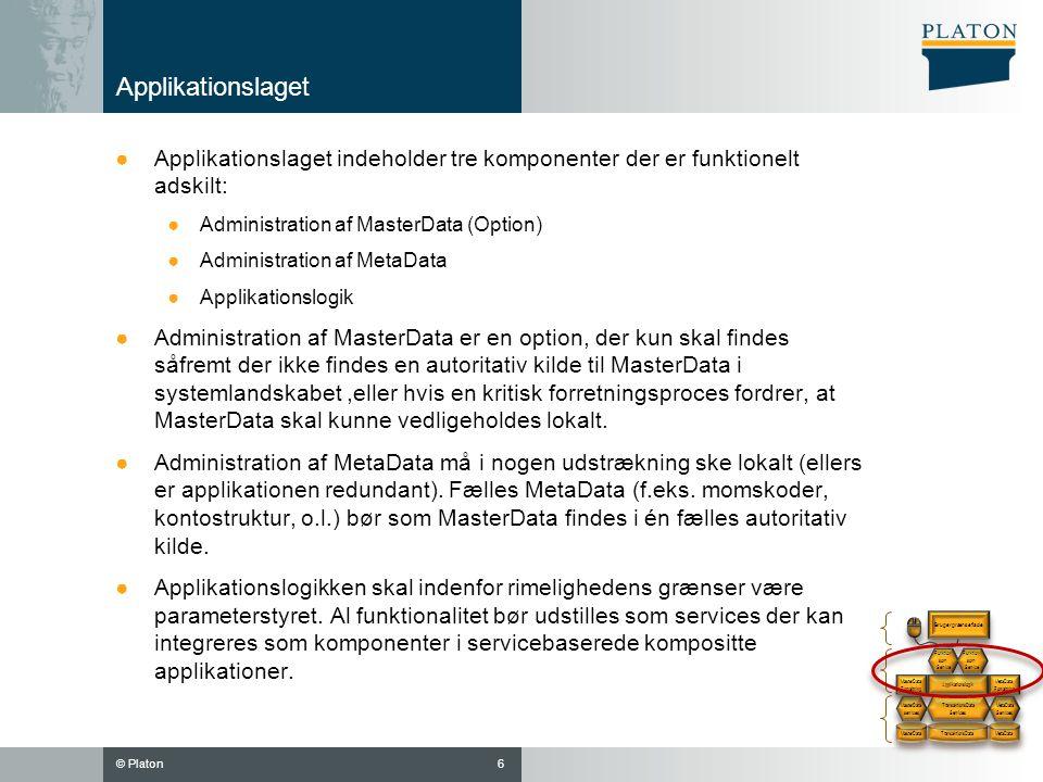 Applikationslaget Applikationslaget indeholder tre komponenter der er funktionelt adskilt: Administration af MasterData (Option)