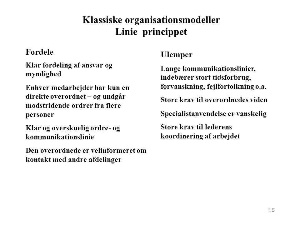 Klassiske organisationsmodeller Linie princippet