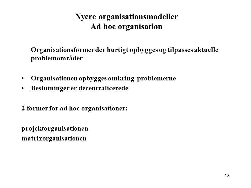 Nyere organisationsmodeller Ad hoc organisation