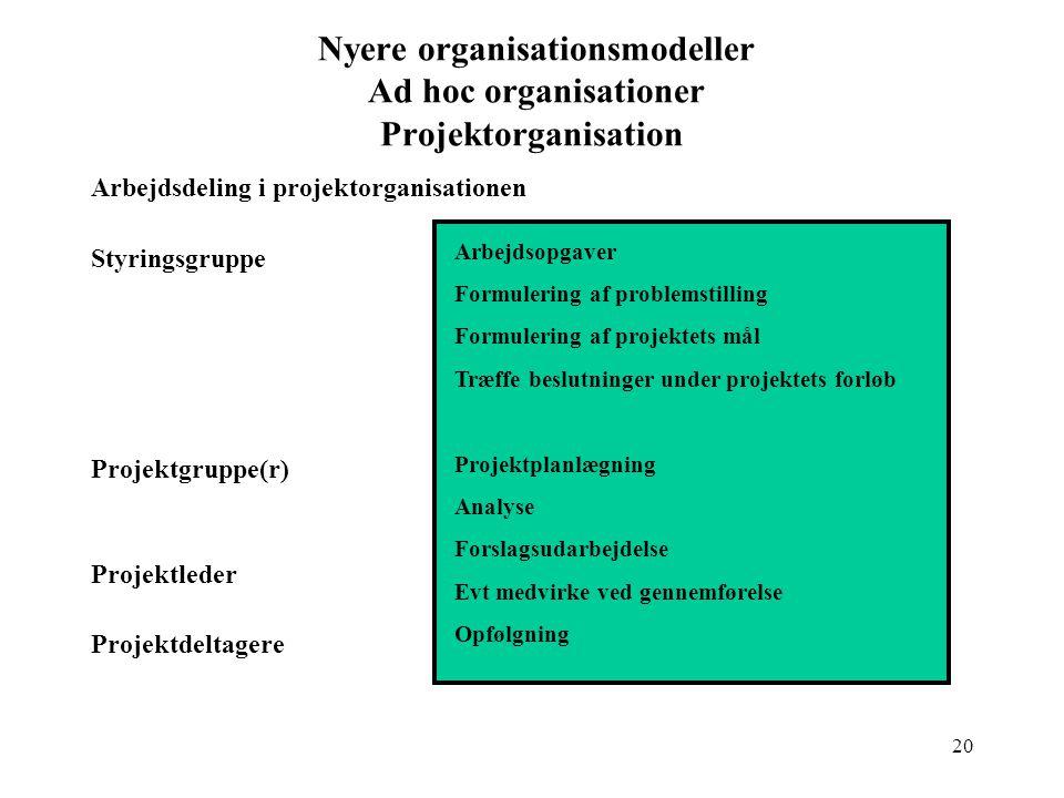 Nyere organisationsmodeller Ad hoc organisationer Projektorganisation