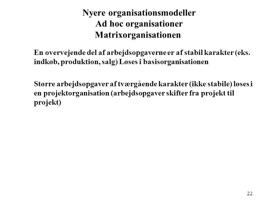 Nyere organisationsmodeller Ad hoc organisationer Matrixorganisationen
