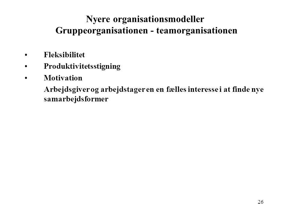 Nyere organisationsmodeller Gruppeorganisationen - teamorganisationen