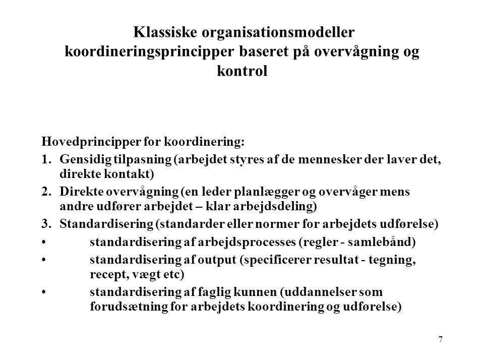 Klassiske organisationsmodeller koordineringsprincipper baseret på overvågning og kontrol