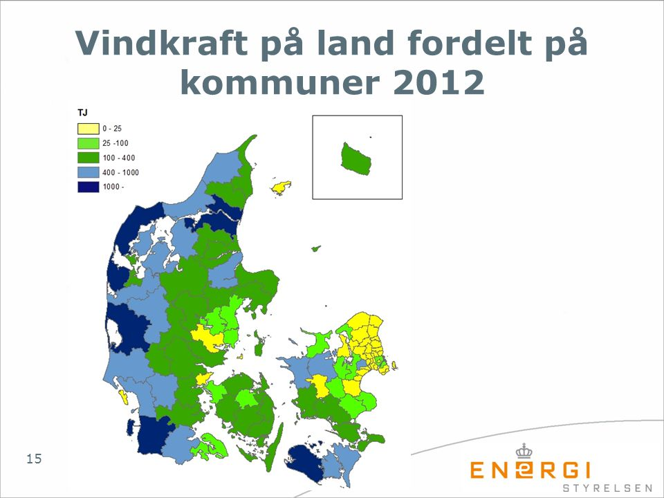 Vindkraft på land fordelt på kommuner 2012