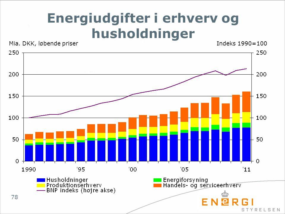 Energiudgifter i erhverv og husholdninger