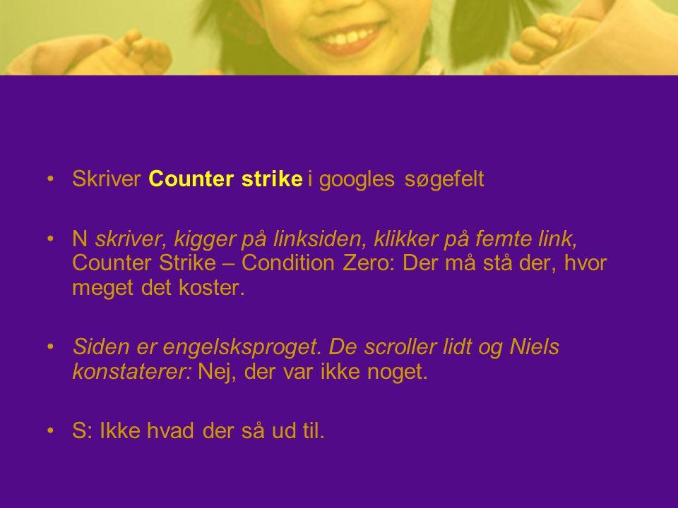 Skriver Counter strike i googles søgefelt