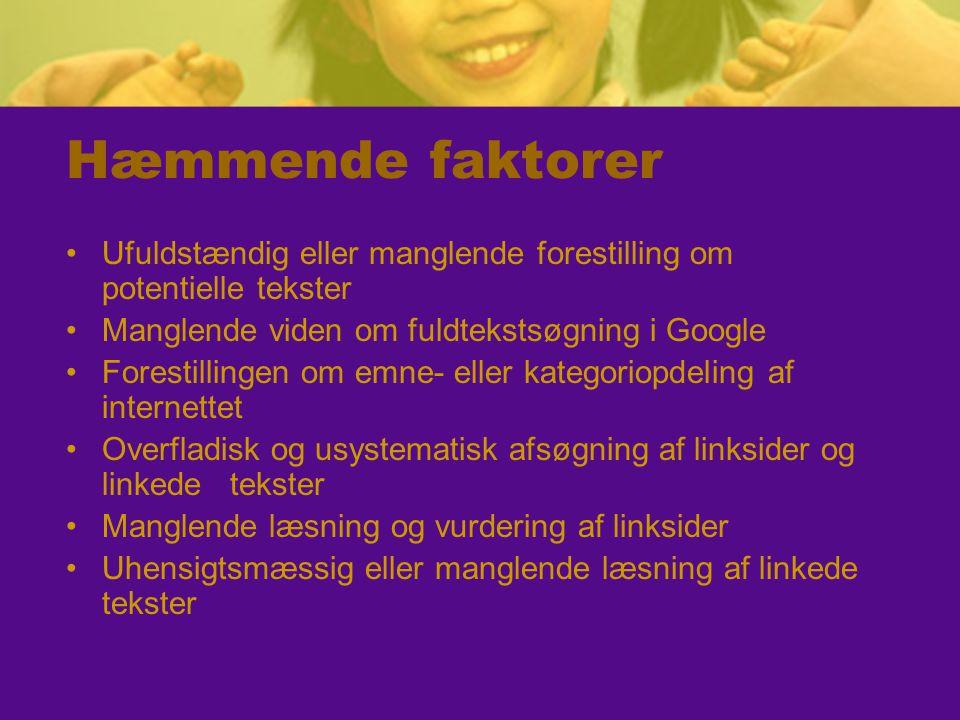 Hæmmende faktorer Ufuldstændig eller manglende forestilling om potentielle tekster. Manglende viden om fuldtekstsøgning i Google.