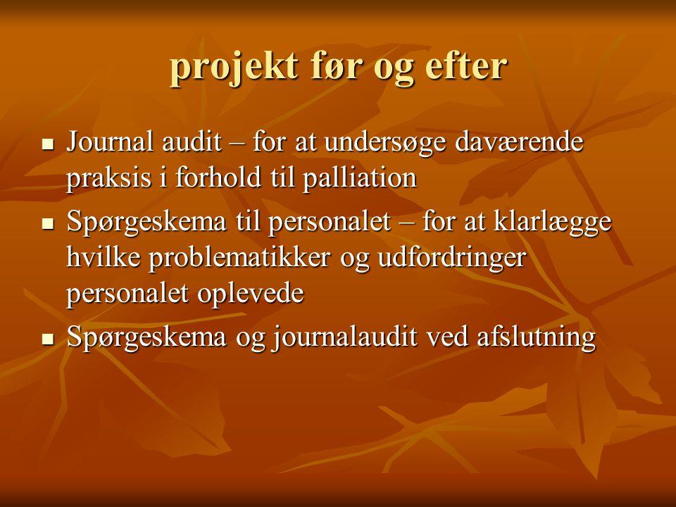 projekt før og efter Journal audit – for at undersøge daværende praksis i forhold til palliation.