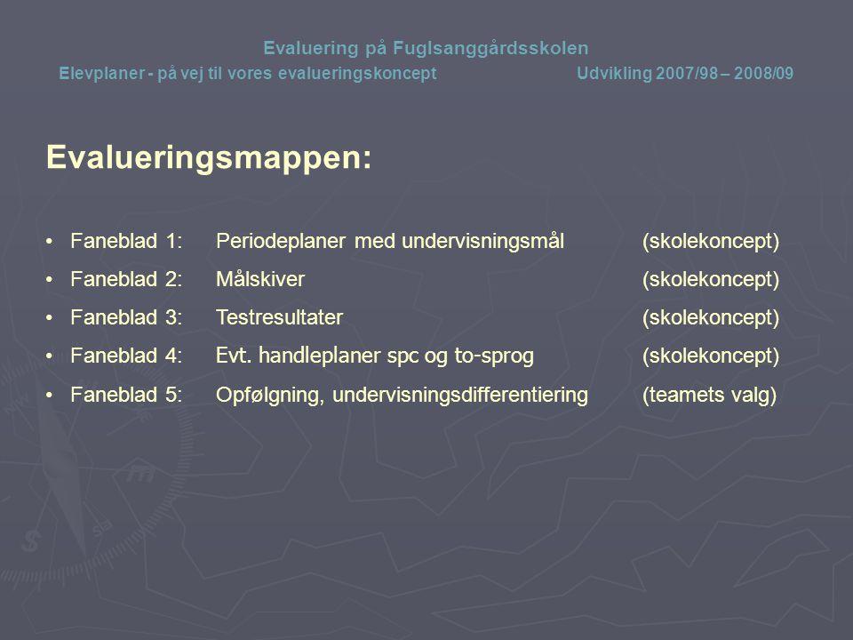 Evaluering på Fuglsanggårdsskolen Elevplaner - på vej til vores evalueringskoncept Udvikling 2007/98 – 2008/09