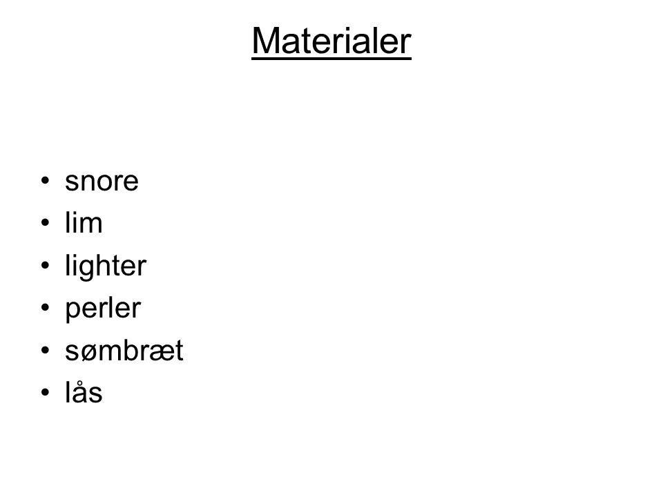 Materialer snore lim lighter perler sømbræt lås