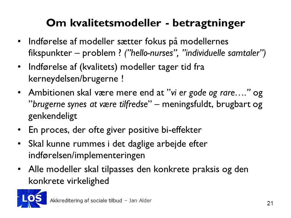 Om kvalitetsmodeller - betragtninger