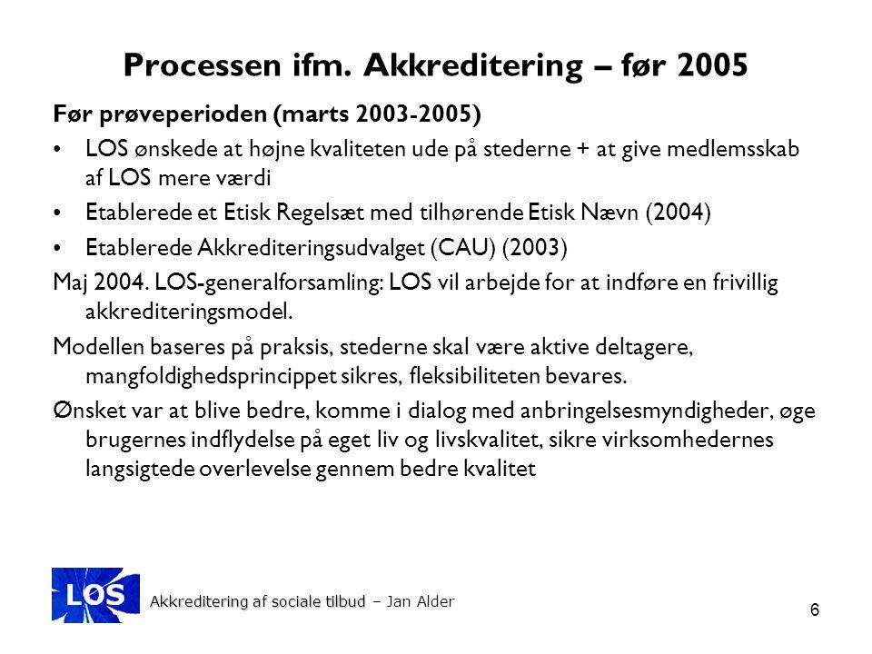 Processen ifm. Akkreditering – før 2005