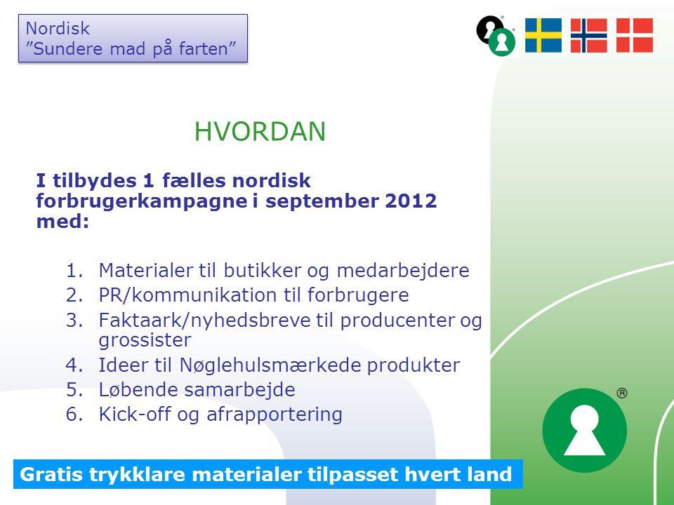 Nordisk Sundere mad på farten HVORDAN. I tilbydes 1 fælles nordisk forbrugerkampagne i september 2012 med: