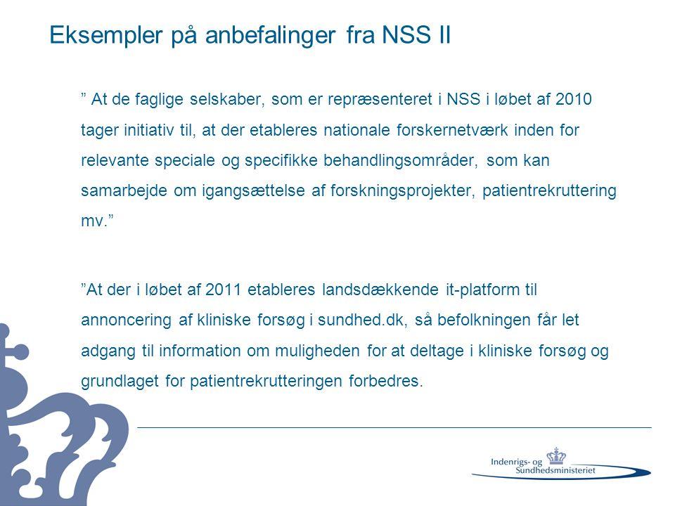 Eksempler på anbefalinger fra NSS II
