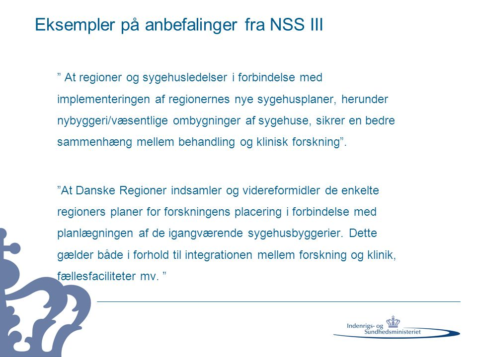 Eksempler på anbefalinger fra NSS III