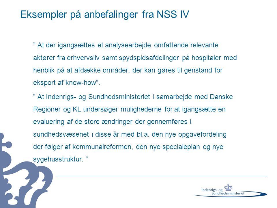 Eksempler på anbefalinger fra NSS IV