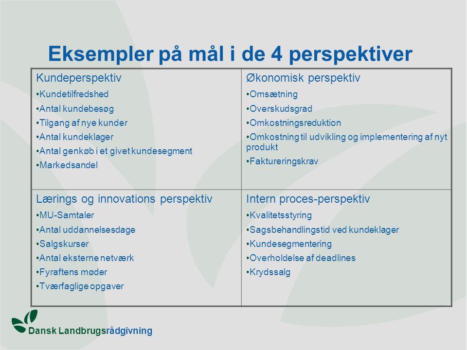 Eksempler på mål i de 4 perspektiver