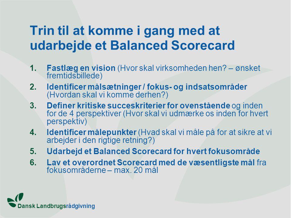 Trin til at komme i gang med at udarbejde et Balanced Scorecard