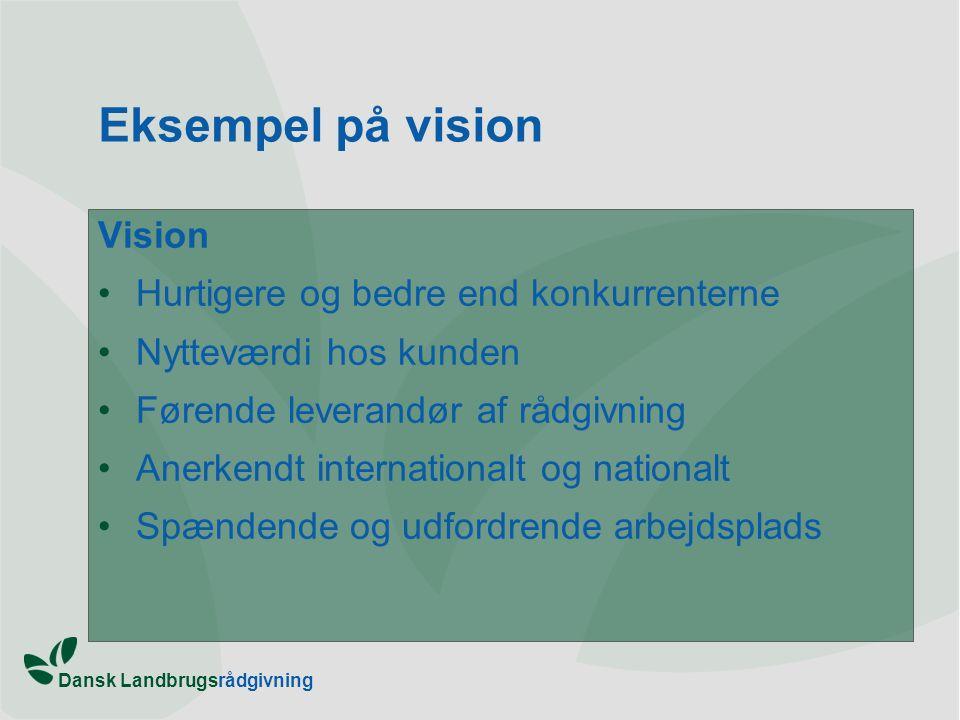 Eksempel på vision Vision Hurtigere og bedre end konkurrenterne