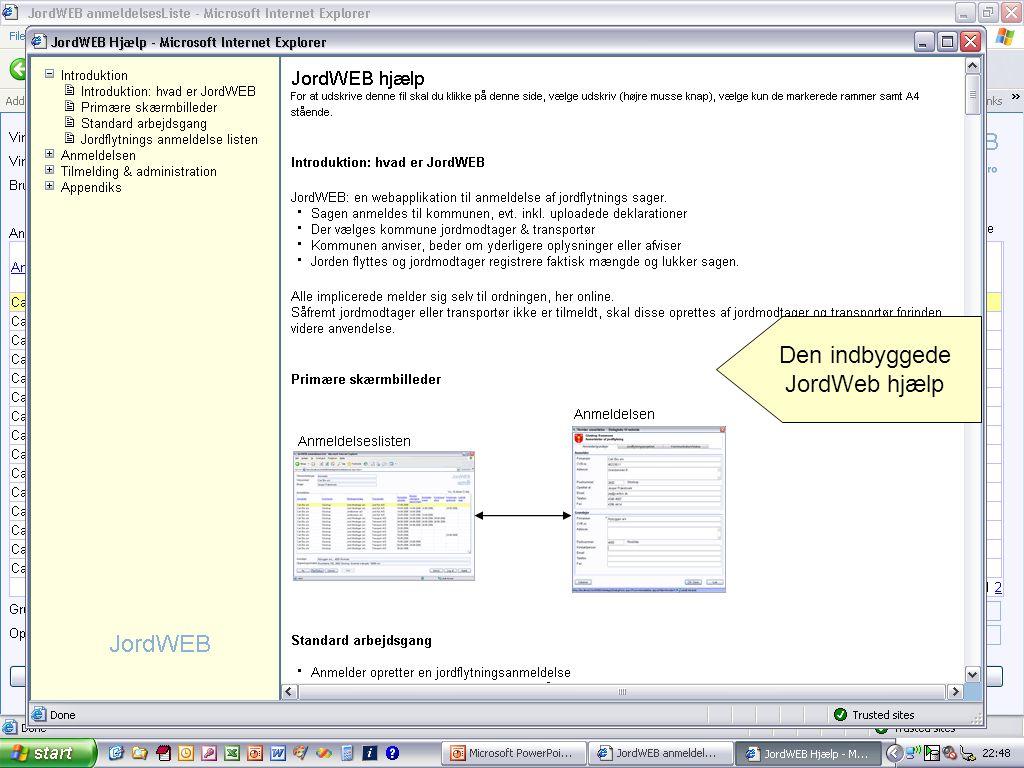 Den indbyggede JordWeb hjælp Portalen indeholder også fuld online hjælp