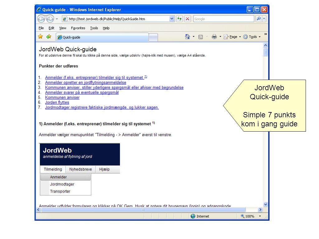 JordWeb Quick-guide Simple 7 punkts kom i gang guide