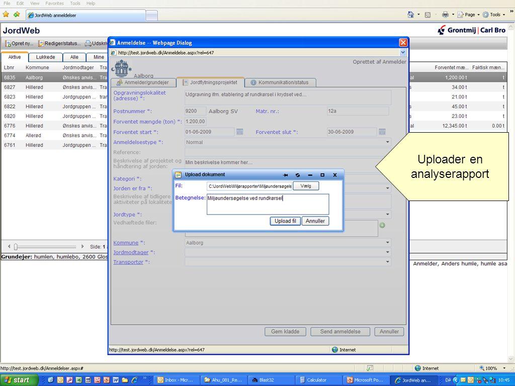 Uploader en analyserapport