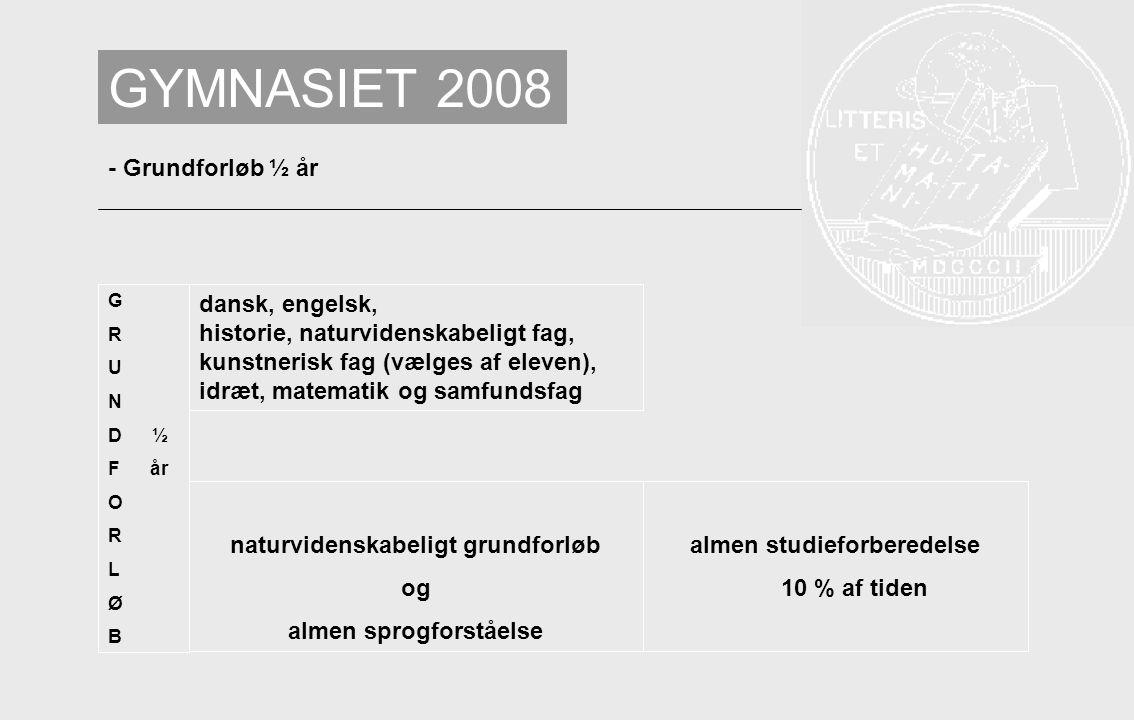GYMNASIET 2008 - Grundforløb ½ år dansk, engelsk,