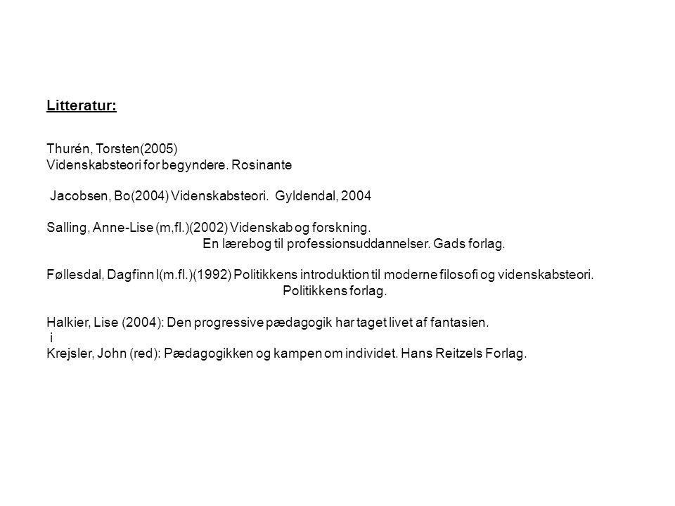 Litteratur: Thurén, Torsten(2005) Videnskabsteori for begyndere. Rosinante. Jacobsen, Bo(2004) Videnskabsteori. Gyldendal, 2004.
