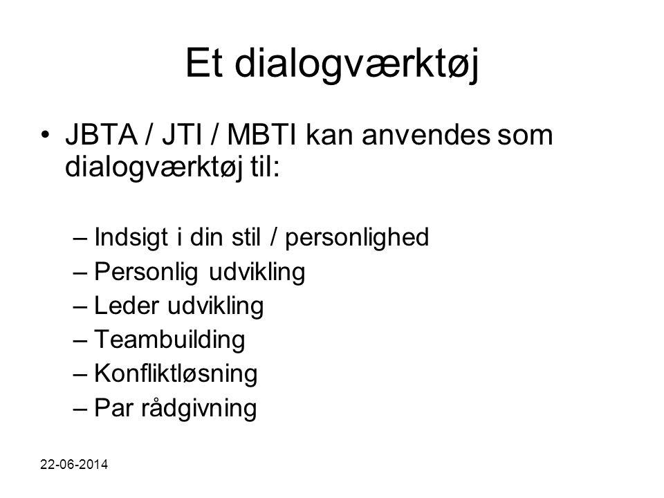 Et dialogværktøj JBTA / JTI / MBTI kan anvendes som dialogværktøj til: