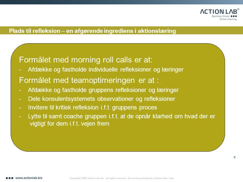 Formålet med morning roll calls er at: