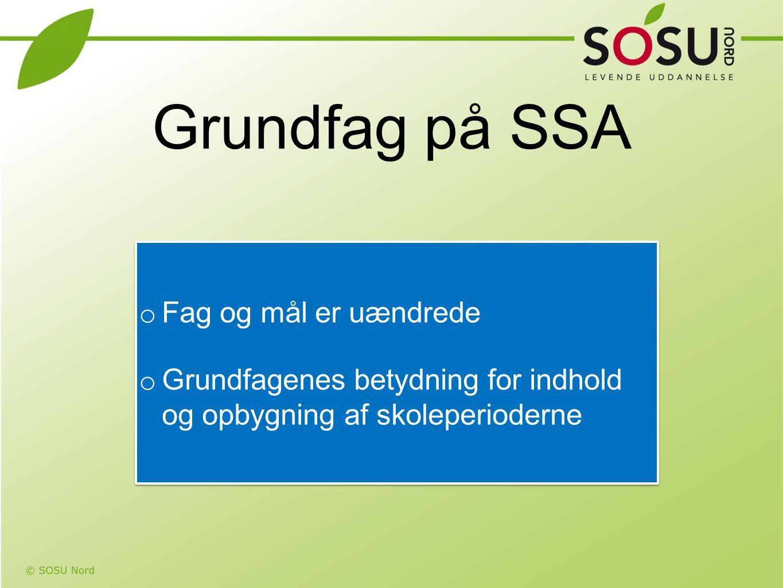 Grundfag på SSA Fag og mål er uændrede