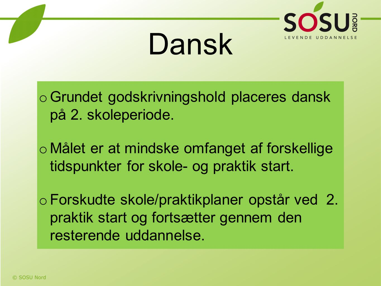 Dansk Grundet godskrivningshold placeres dansk på 2. skoleperiode.
