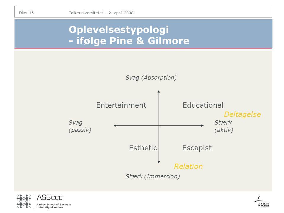 Oplevelsestypologi - ifølge Pine & Gilmore